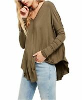 Free People Moonshine Tunic V Neck Oversized Army Green Top XS X Small NWT $68