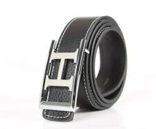 Fashion Letter-H-Frame Buckle Genuine Leather Belt Waistband Silver-Buckle