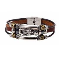 Leder Männer  Tibetischen Silber Armband Parataxe  Drachen Mehrschichtige neu