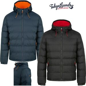 Men's Tokyo Laundry Quilted Padded Windbreaker Puffer Jacket Hooded Bubble Coat