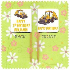 20 PERSONALISED DIGGER BIRTHDAY CUP CAKE FLAG Party Pick Food Topper Decoration