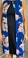 ex-Wallis Floral Split Front Overlay Summer Special Occasions Dress Sleeveless