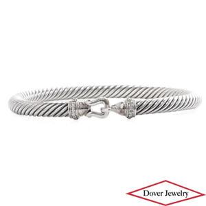 David Yurman Diamond Sterling Silver Fancy Cable Buckle Bracelet 28.9 Grams NR