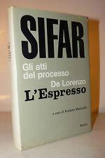 Martinelli: SIFAR Atti del processo De Lorenzo - L'Espresso 1968 Mursia RARO 1a