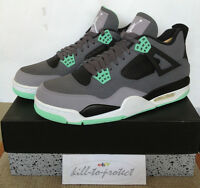 NIKE JORDAN 4 GREEN GLOW Sz US UK7 8 9 10 11 12 13 Grey 308497-033 BRED DB 2013