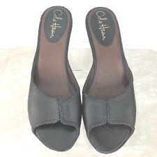 c1943e714ec Cole Haan Black Leather Peep Toe Heeled Sandals