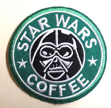 """STAR WARS Darth Vader Coffee Embroidered 3"""" Green Patch-USA Mailed (SWPA-SB-01)"""