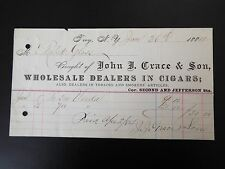 John J. Grace & Son Wholesale Dealers in Cigars Letterhead Invoice 1884