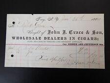 John J. Grace & Son Wholesale Dealers in Cigars Letterhead Invoice 1884