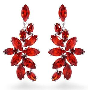 Gift Boxed White Gold Plated Red Cluster Drop CRYSTAL EARRINGS UK