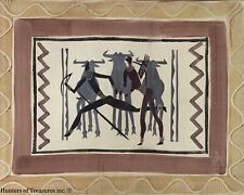"""Vtg Oil on Canvas Primitivism Art Tribal African Hunters Painting by JIRA 26x33"""""""