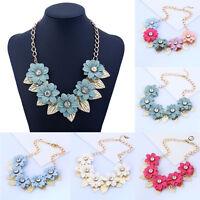 Women Bib Flower Crystal Pendant Statement Chain Chunky Choker Necklace Charm