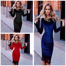 Women Velvet Lace Slim Long Sleeve Dress Bodycon Evening Party Cocktail Dress