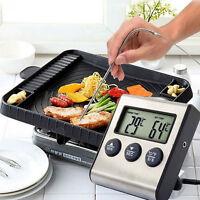 Safe Digital LCD Thermometer Timer für BBQ Grill Küche Backofen Food Kochen Tool