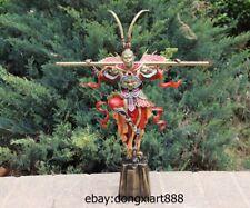 19 Chinese Pure brass colored drawing Sun Wukong Monkey King Buddha sculpture