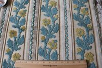 Vintage French Cut Cotton Velvet Floral Stripe Jacquard Fabric c1940~19X26