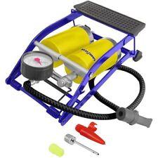 Heavy Duty Double Barrel Foot Pump Air Pressure Gauge Portable Car Tyre Inflator