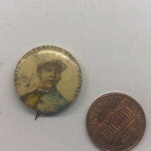 Vintage Pinback Button Badge Pin Loates English Horse Jockey