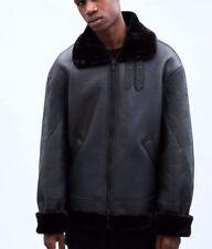 NEW Mennace Black Faux Fur Trim Flight Jacket - M