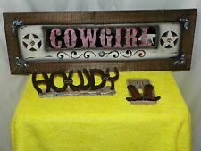 WESTERN COWGIRL WOODEN WALL PLAQUE, SWITCH PLATE,HOWDY PLAQUE