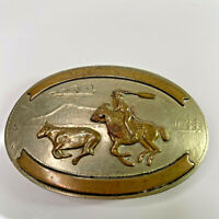 "Vintage Silver Calf Roping Belt Buckle Comstock Silversmiths German Silver, 4"""