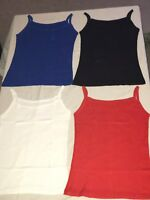 1-4X Ribbed Sleeveless Ladies Stretch Strappy Cami Camisole Vest Tank Top lot