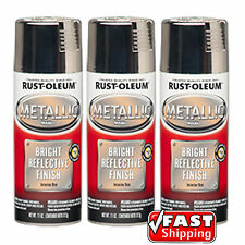 Rust-Oleum 3pk Metallic Chrome Spray Paint Bright Reflective Finish Arts Crafts