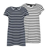 Ladies Miso Plus Size Long Length Stripe Boyfriend T Shirt Sizes from 8 to 18