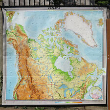 FANTASTIC ORIGINAL VINTAGE  GEOGRAPHICAL PULL DOWN SCHOOL MAP OF CANADA