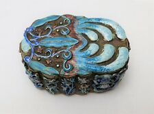 19th c Antique Chinese Gilt Silver & Enamel Box Signed on Base