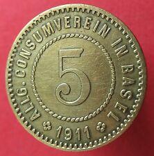 Old Rare Switzerland token -Basel - Allg. C.V. 1911 - 5 -1908.1- mehr am ebay.pl