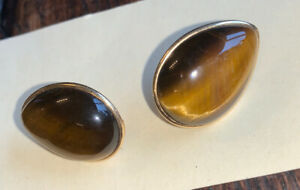 Pair Large 14k Gold Continental Tigers Eye Agate Earrings Studs 11grams Gross
