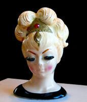 "Vintage 4 1/4"" Lefton Lady Head Vase Blonde Ruby Red RS Jeweled Tiara RARE FIND"