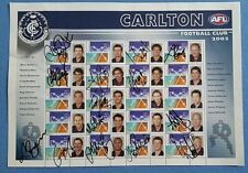 CARLTON FOOTBALL CLUB 2002 POSTAGE STAMPS Signed Ratten Fevola Bradley