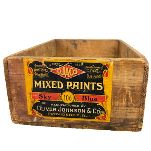 Antique Oliver Johnson & Co OJACO Paint Wood Advertising Crate Box Providence RI
