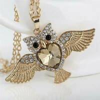 Owl Vintage Women Rhinestone Crystal Pendant Necklace Long Sweater Chain Jewelry