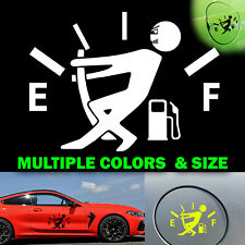 Low Gas Funny Vinyl Decal Car Truck Sticker Stickman Fuel lid Door Gauge JDM