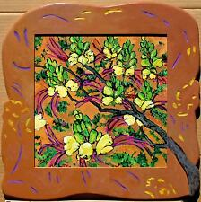 CALIFORNIA PLEIN AIR YELLOW FLOWERS IN ARTIST-CARVED WOOD FRAME