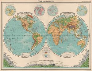 WORLD-PHYSICAL. Hemispheres. Mountain heights. Snowline. Glacier line 1924 map