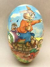 """Early 1900's German Paper Mache X-Large Easter Egg Candy Container ~ 11"""""""