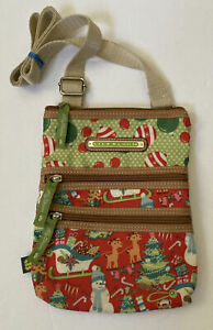 Lily Bloom Crossbody Purse Christmas Holiday Candy Canes Santa Bag Hipster