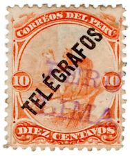 (I.B) Peru Telegraphs : 10c Orange (1896)