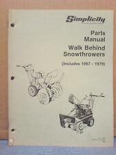 Simplicity 1967 Thru 1979 Walk Behind Snowthrower Parts Manual Tp-826 Original!