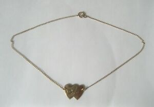 "14k Double Heart Anklet  Yellow Gold  Ankle Bracelet  9"" Mono PAT ?"