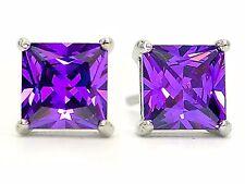 Purple princess stud earrings real silver with amethyst type gem, black gift box