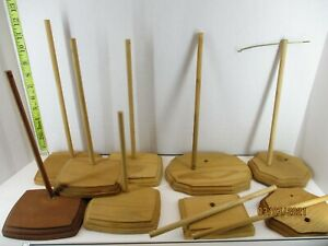 Lot of 9 wood doll stands some assembled, some need to be put together Item #2