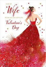 Valentines Day Card Wife Elegant Red Dress