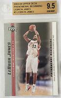 2003-04 LeBron James UD PHENOMENAL BEGINNING ROOKIE RC #3 BGS 9.5 w/ 10 sub PSA