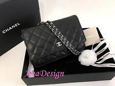 Authentic Chanel Black Caviar Wallet on Chain WOC Messenger Clutch Bag SHW