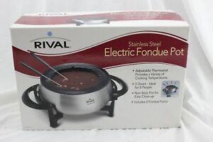 Rival Electric Fondue Pot Stainless Steel 3 Quart Non-Stick FD325 BRAND NEW A054